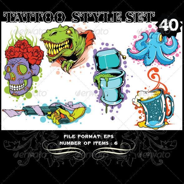Tattoo Style Vector Set 40 - Tattoos Vectors