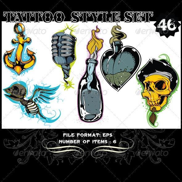 Tattoo Style Vector Set 46