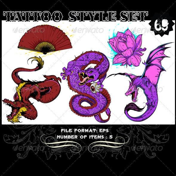 Tattoo Style Vector Set 69