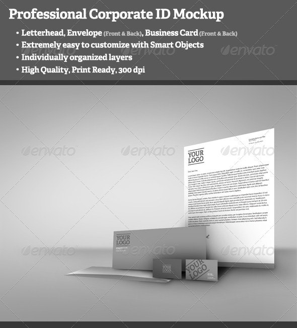 Professional Corporate ID Mockup - Stationery Print