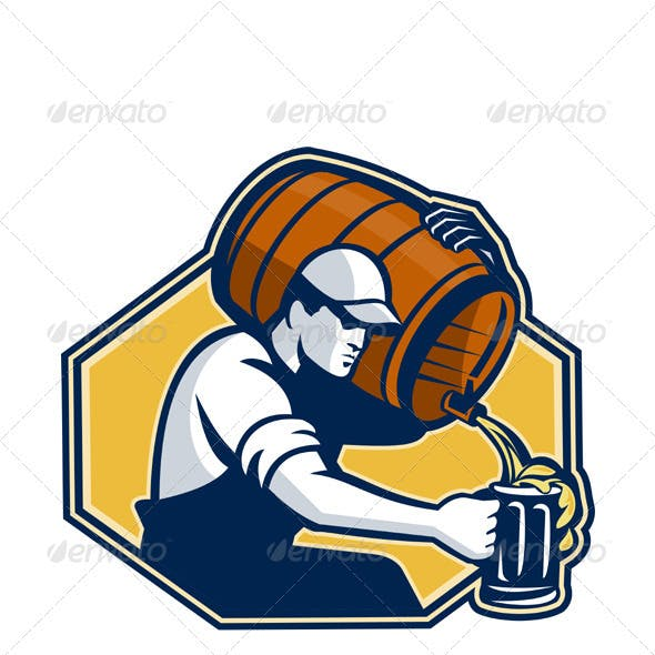Bartender Worker Pouring Beer From Barrel
