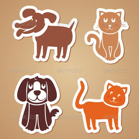 Vector Funny Dogs and Cats - Cartoon Stickers - Animals Characters