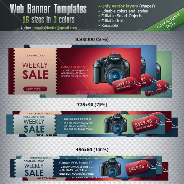 Web Banner Templates - 16 sizes