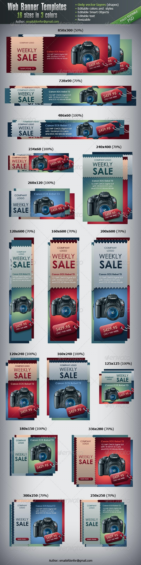 Web Banner Templates - 16 sizes - Banners & Ads Web Elements