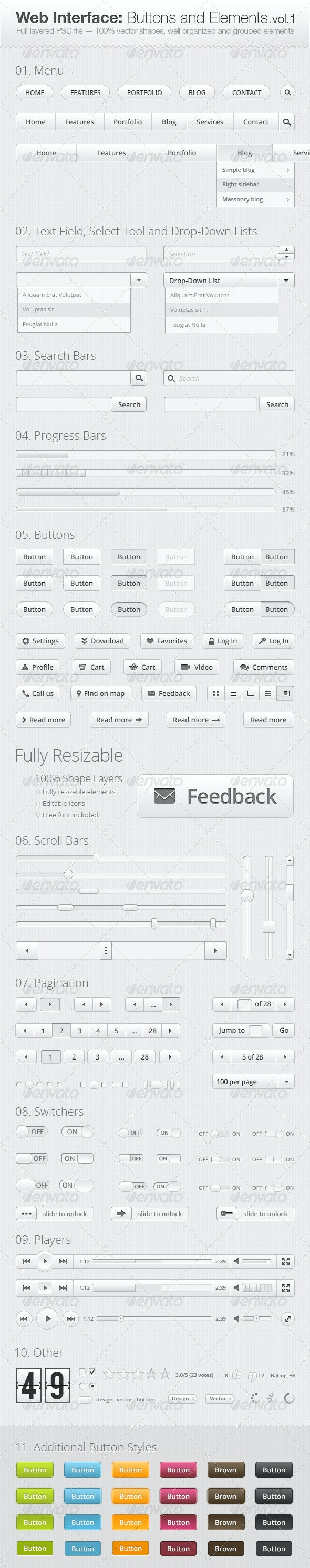 Web Interface: Buttons and Elements Collection - Buttons Web Elements