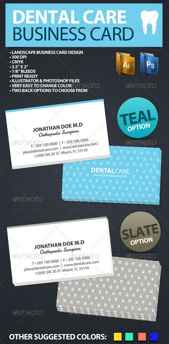 Dental Care Business Card - Industry Specific Business Cards