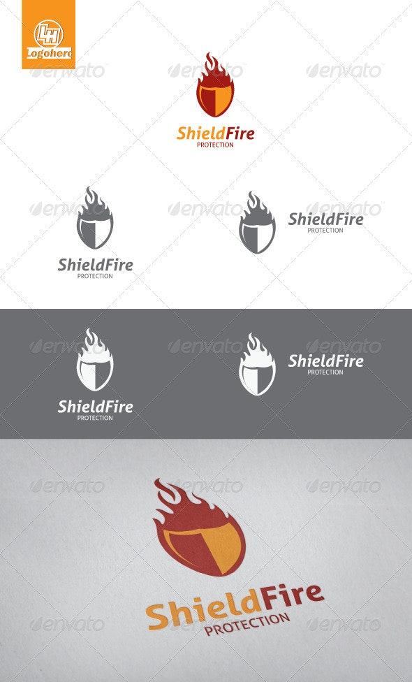 Shield Fire Logo Template - Objects Logo Templates