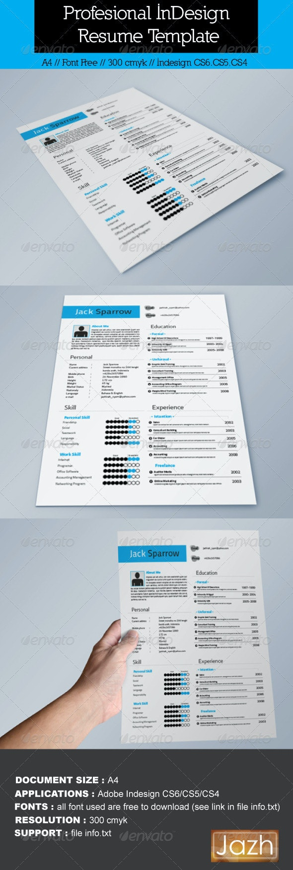 InDesign Resume Template - Resumes Stationery