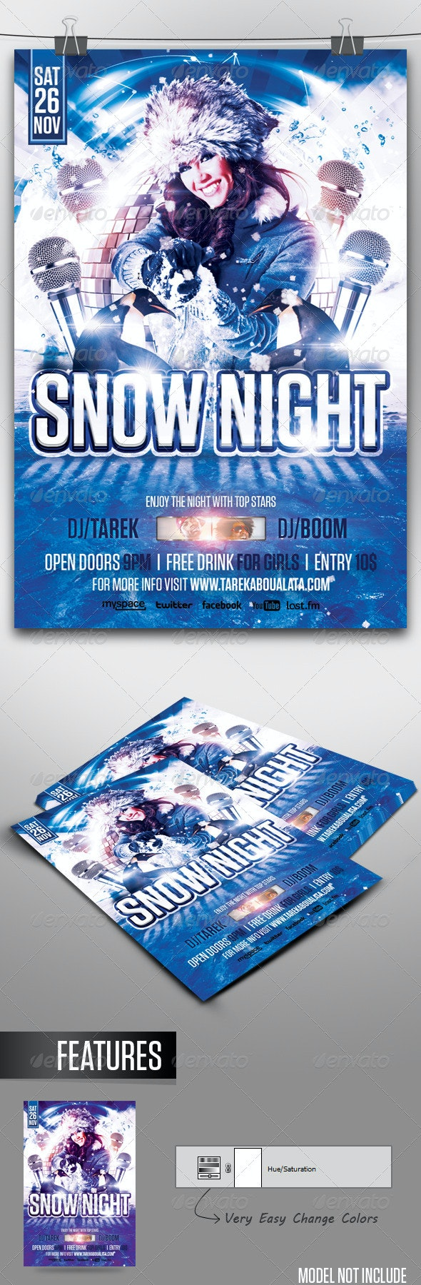 Snow Night Flyer - Clubs & Parties Events