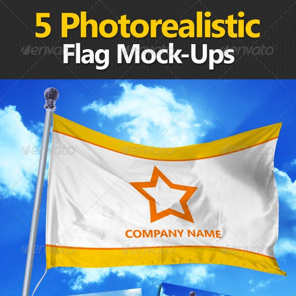 5 Photorealistic Flag Mock-Ups