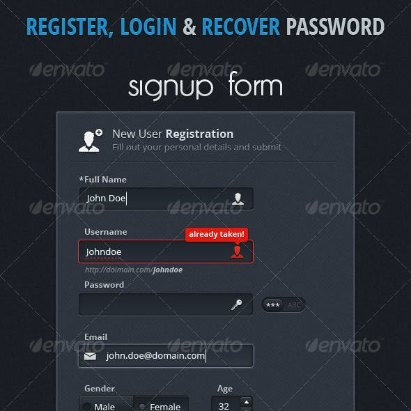 Register & Login and Recover Password Boxes