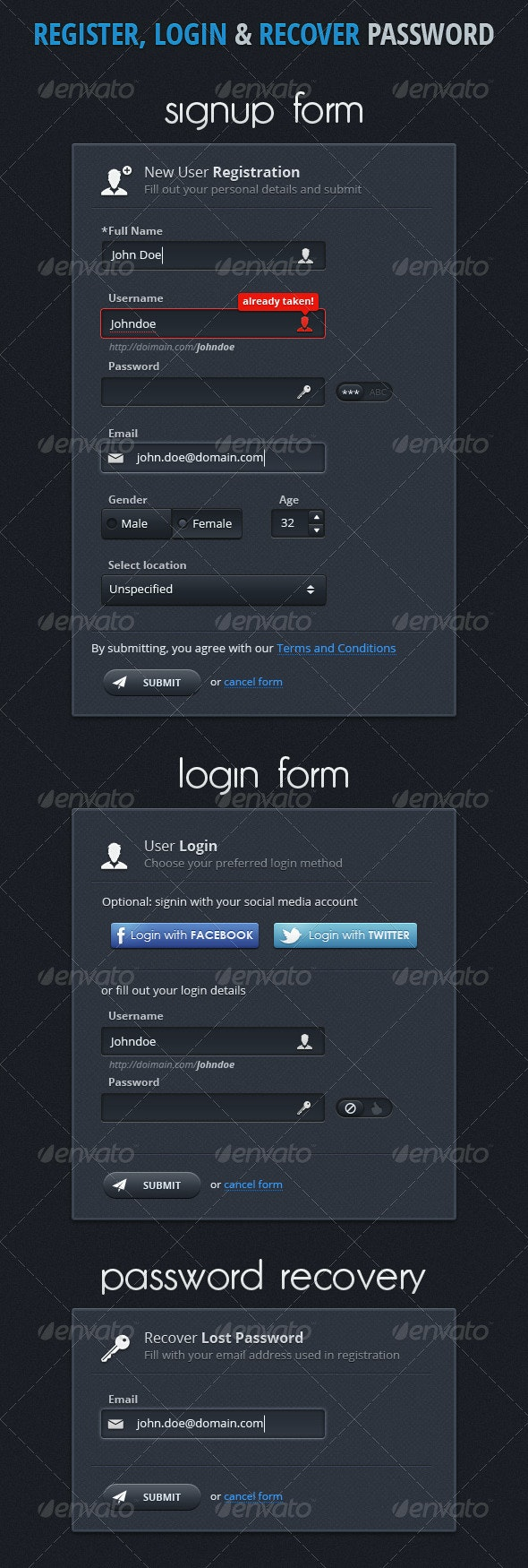Register & Login and Recover Password Boxes - Forms Web Elements