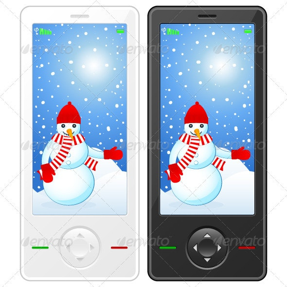 Mobile phone with snowman - Communications Technology