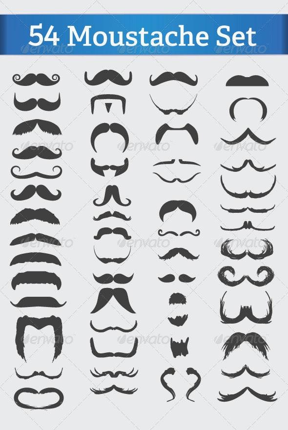 54 Mustache Set  - Characters Vectors