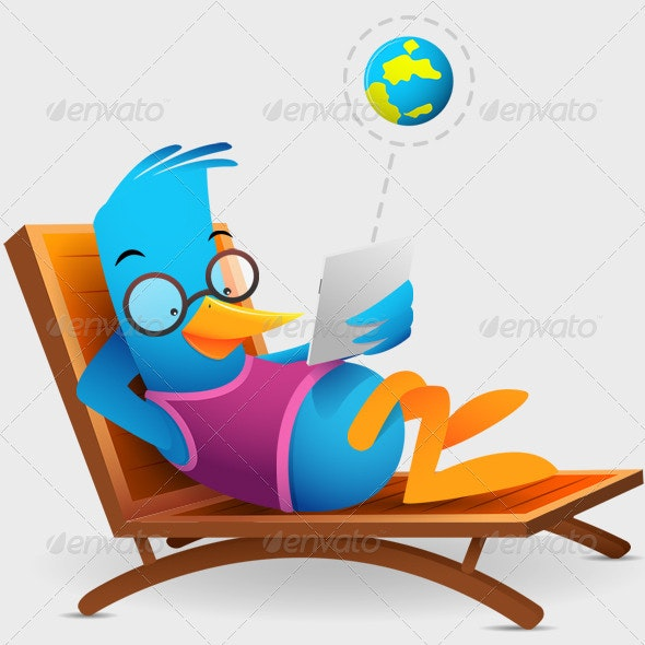 Blue Bird Sitting Using Tablet - Characters Illustrations