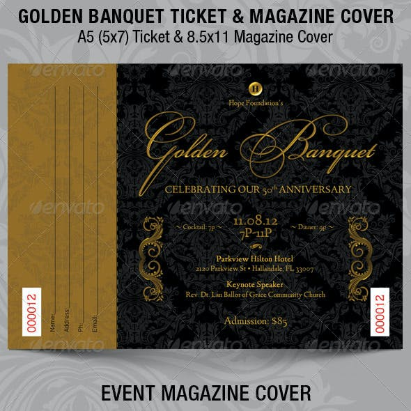 Golden Banquet Ticket Plus Magazine Cover Template