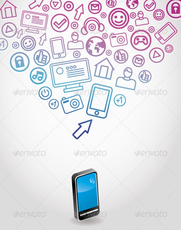 Background with mobile phone - Technology Conceptual