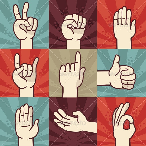 Vector set of hands and gestures - People Characters