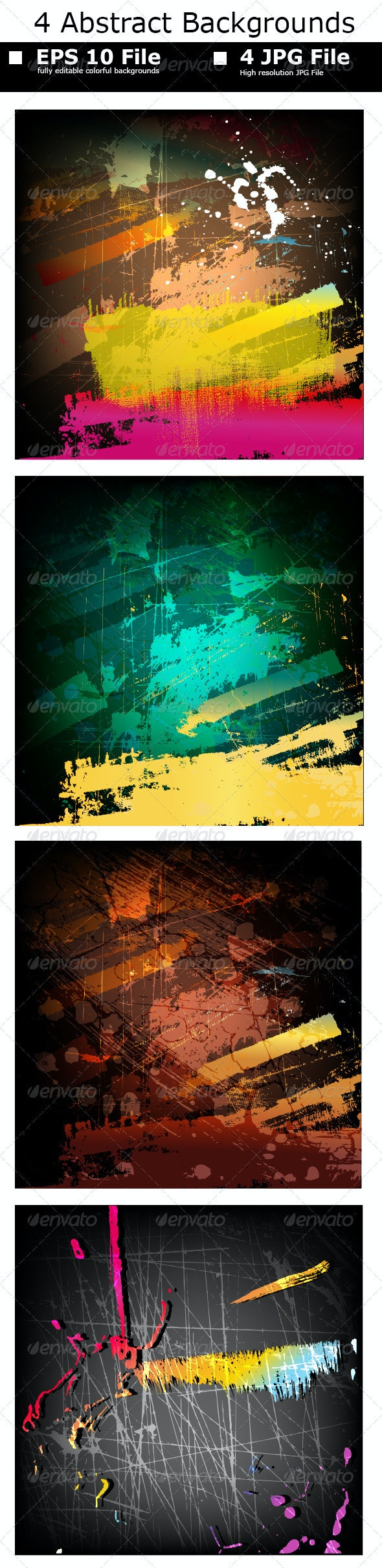 4 Abstract Painting Set - Abstract Conceptual