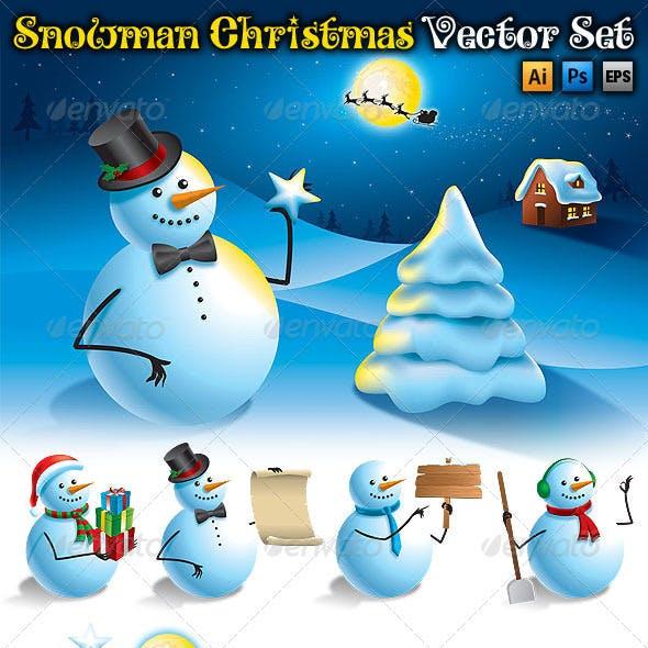 Snowman Christmas Vector Set