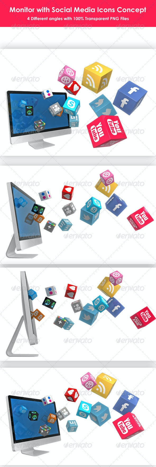 Monitor with Social Media Icons - Technology 3D Renders