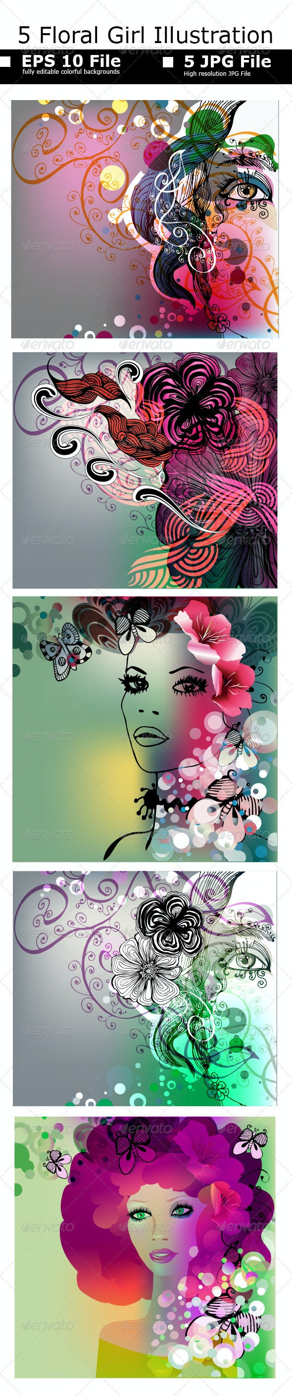 Floral Girl Illustrations Set - People Characters