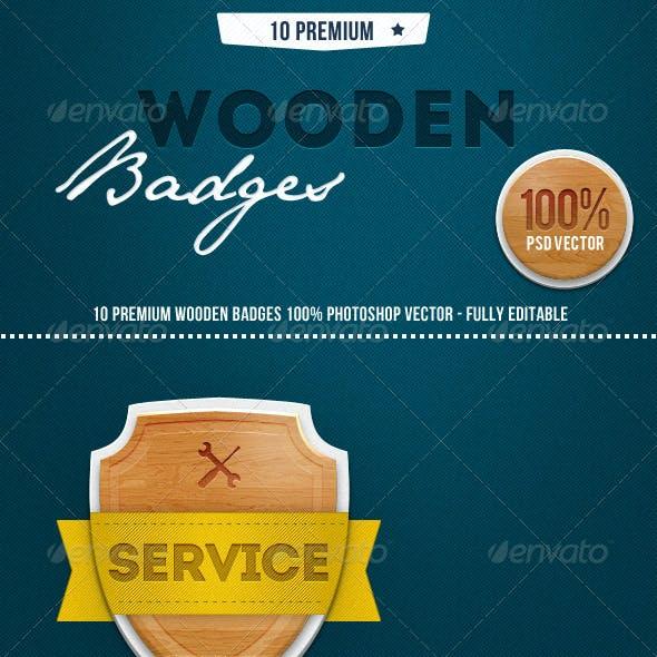 10 Premium Wooden Badges