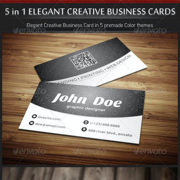 5 in 1 Creative Elegant Business Card Template