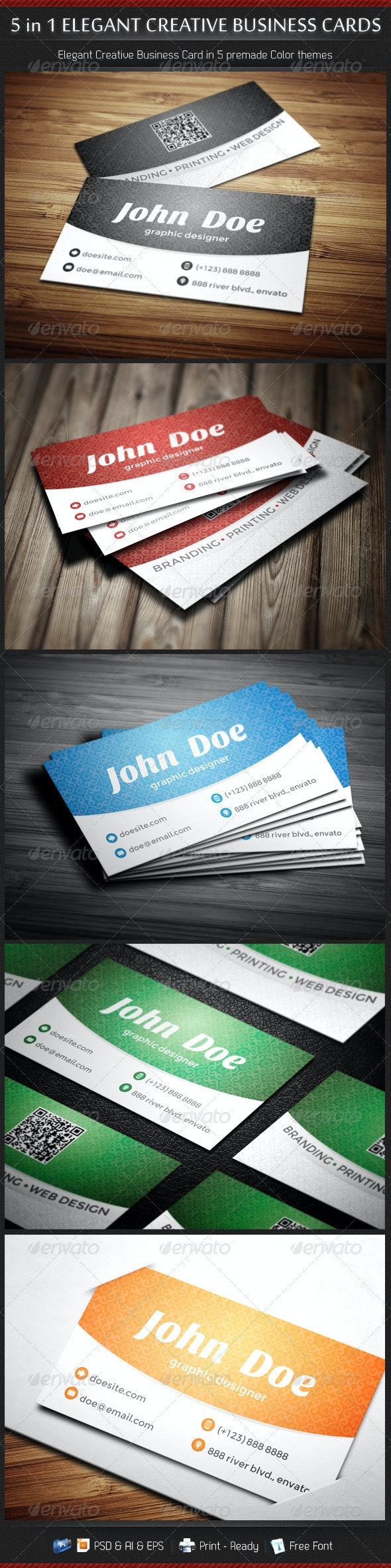 5 in 1 Creative Elegant Business Card Template - Creative Business Cards