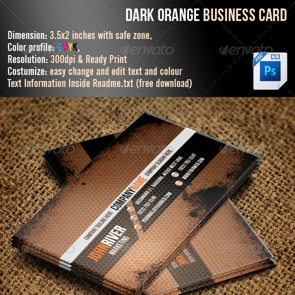 Dark Orange Grunge Business Card