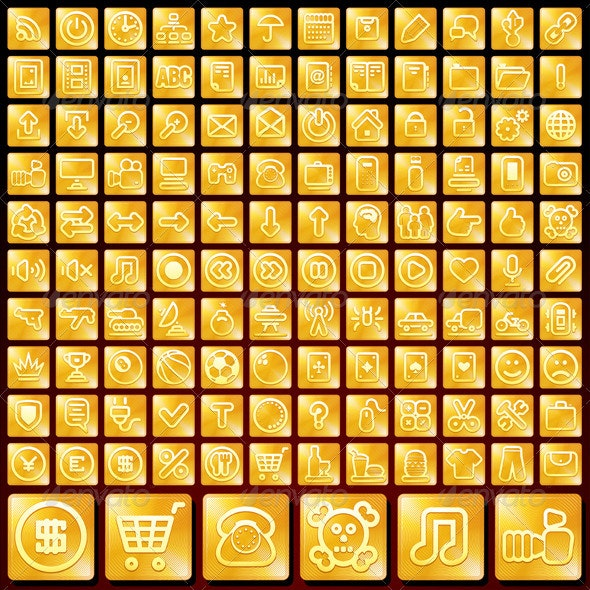 Vector Set of Golden Buttons - Web Icons