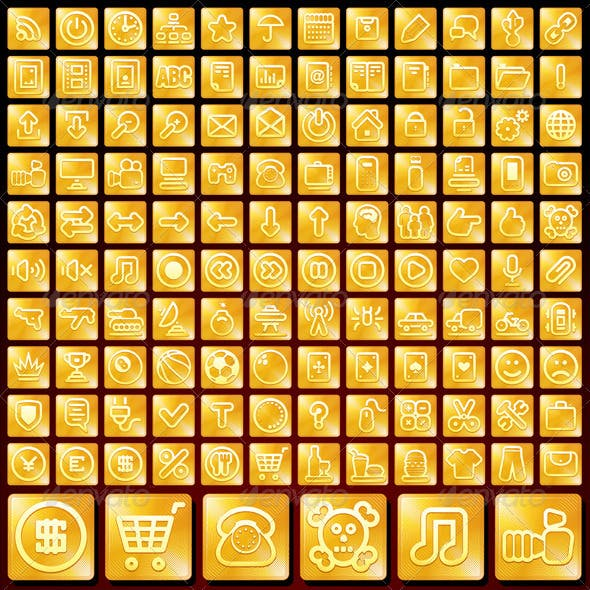 Vector Set of Golden Buttons