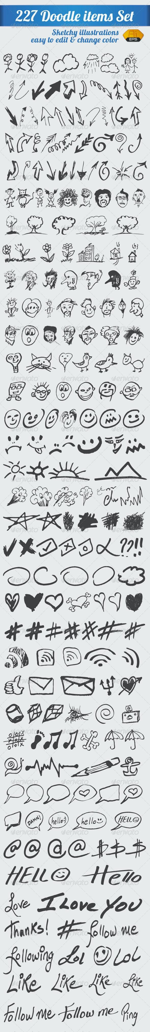 227 Doodle Items Set - Miscellaneous Vectors