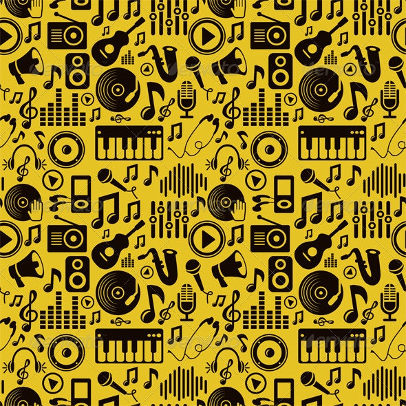 Music Seamless Pattern with Icons and Pictograms - Patterns Decorative