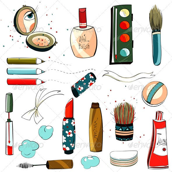 Makeup Set Sketch Drawing