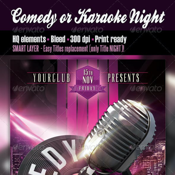 Comedy or Karaoke Night Flyer