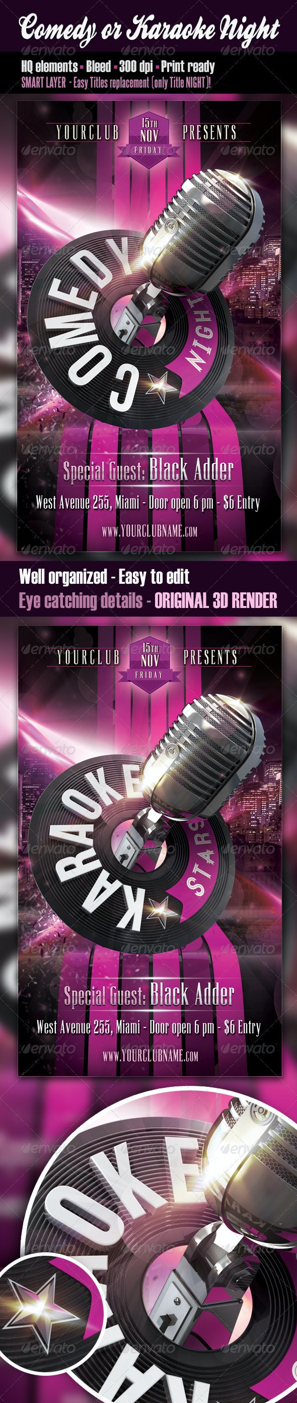 Comedy or Karaoke Night Flyer - Clubs & Parties Events