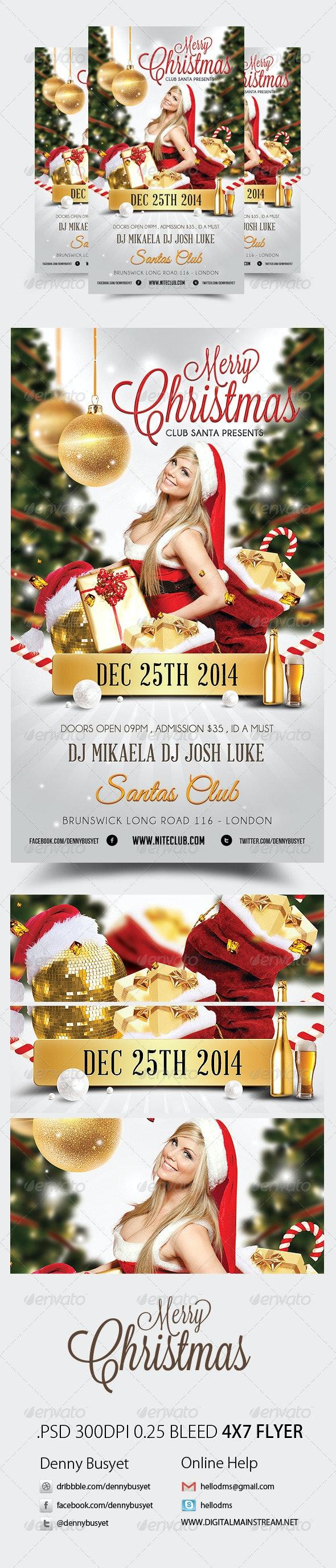 Merry Christmas Nightclub Psd Flyer Template - Holidays Events