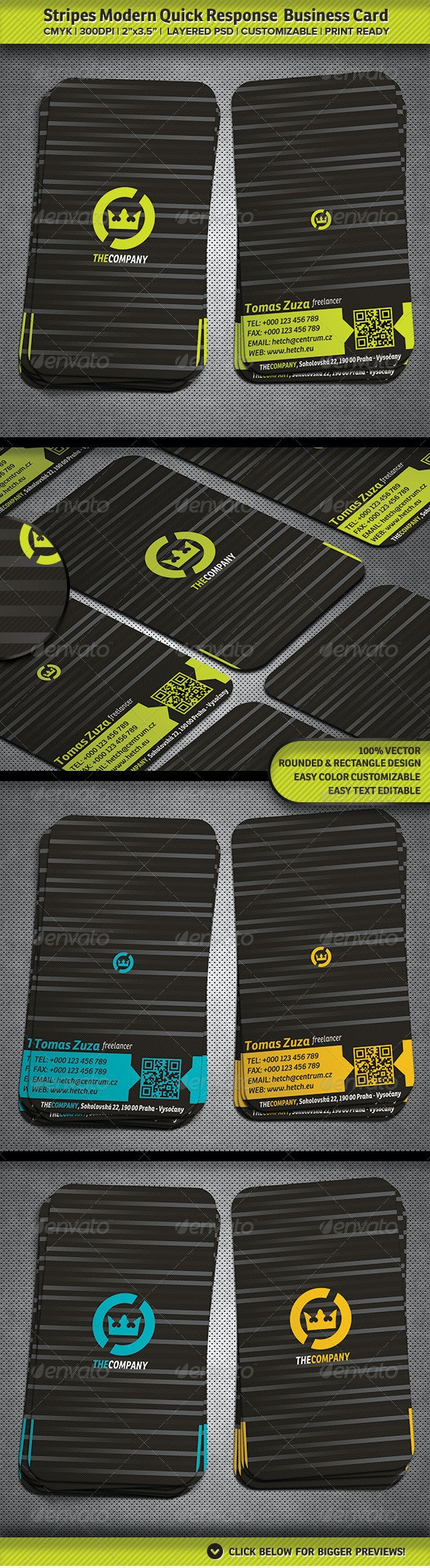 Stripes Modern Quick Response  Business Card - Corporate Business Cards