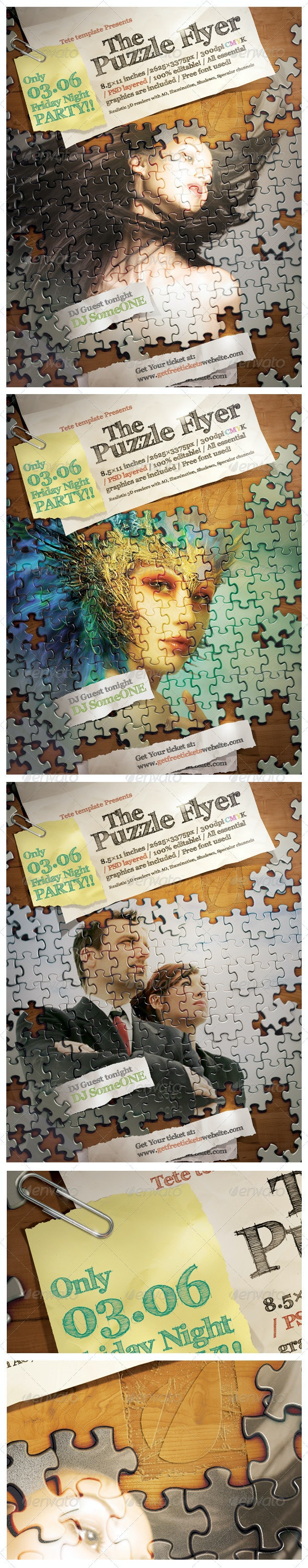 Puzzle Flyer - Clubs & Parties Events