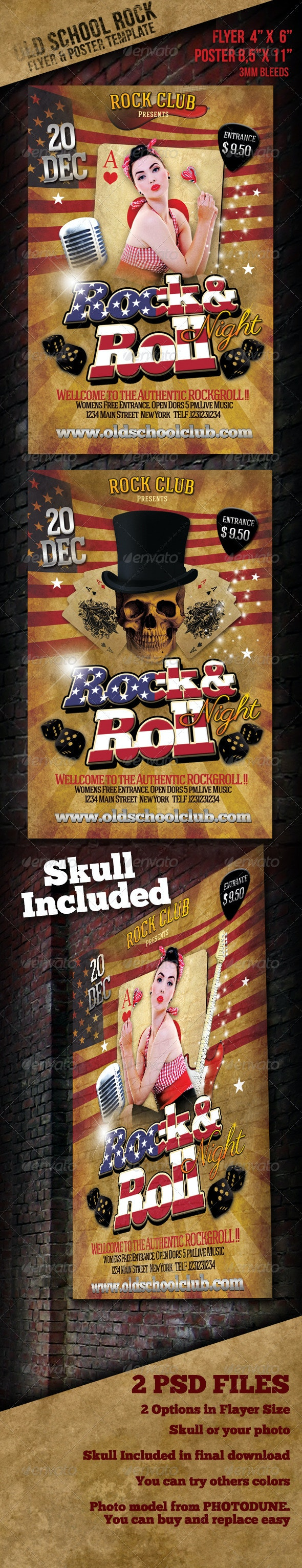 Old School Rock Event Flyer & Poster Template - Events Flyers