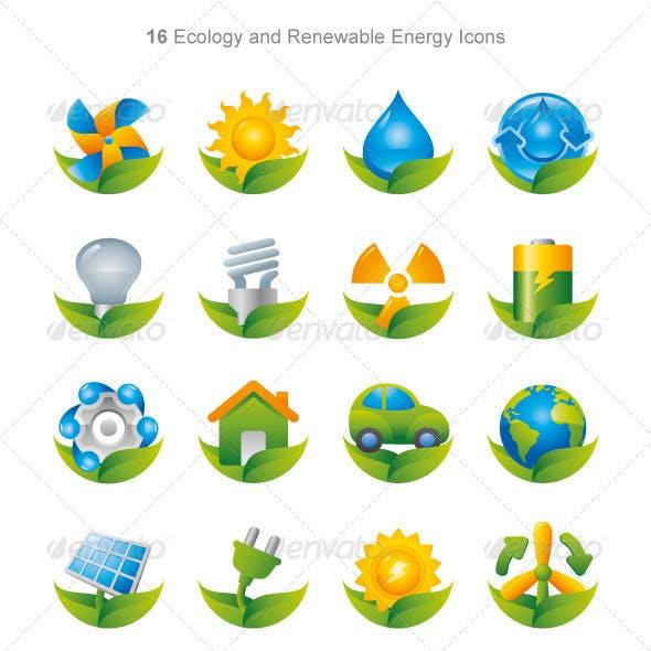 Shiny Green Energy Eco Icons