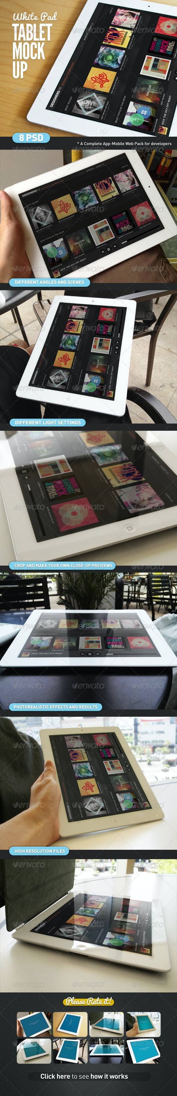 Tablet App White Pad Mock-Up - Mobile Displays