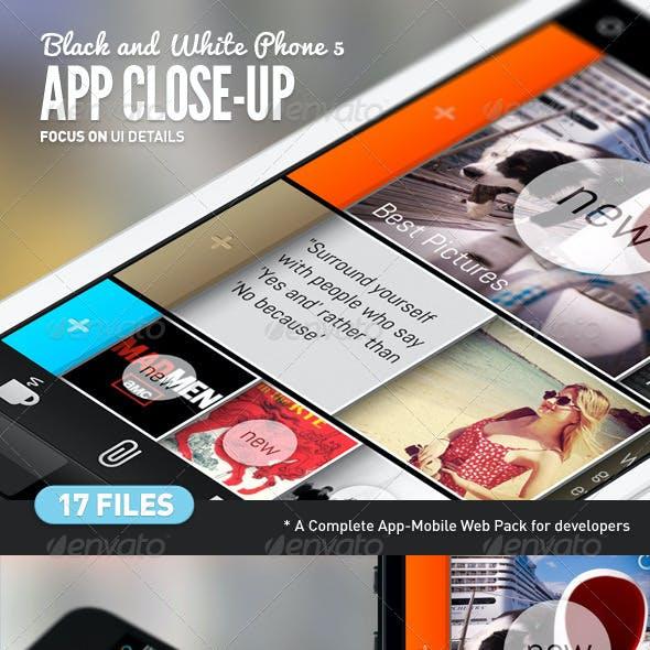App UI Close-Up White Phone 5 Mock-Up