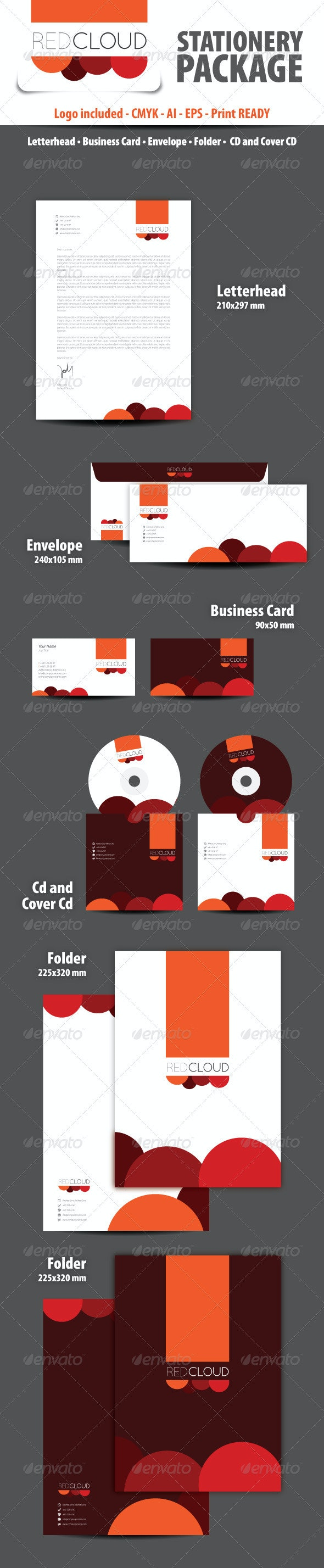 Red Cloud Stationery Package - Stationery Print Templates