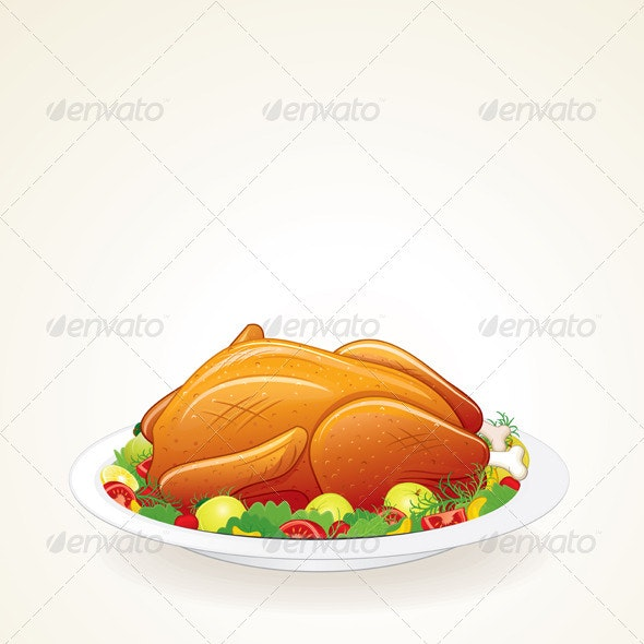 Thanksgiving Turkey Vector - Food Objects