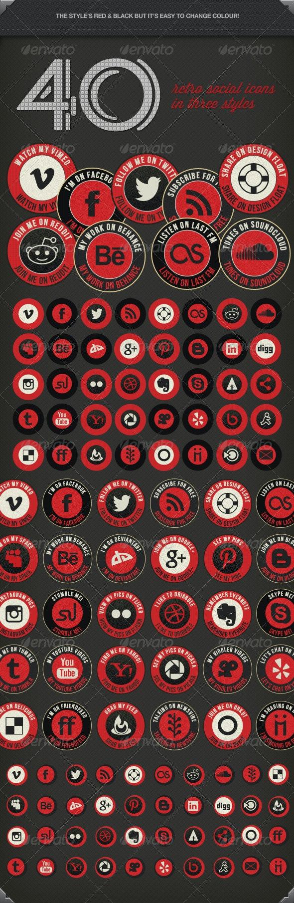 Retro Social Media Icons - Icons