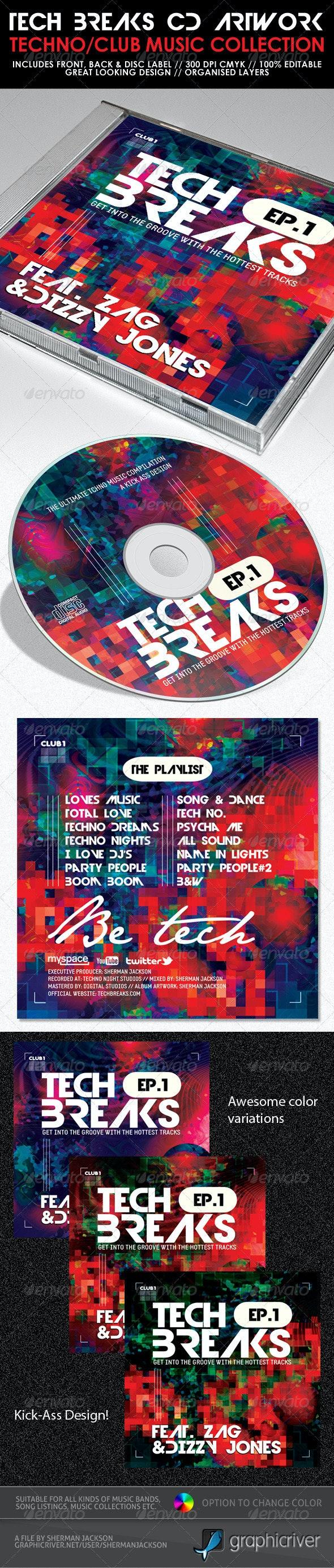 Tech Breaks CD Artwork PSD Template - CD & DVD Artwork Print Templates