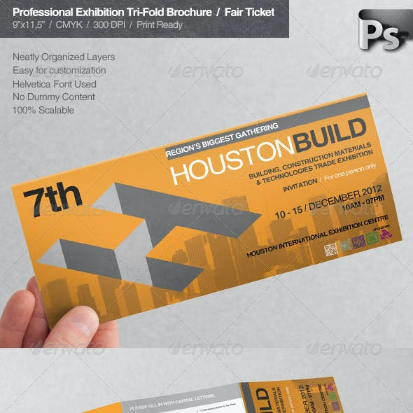 Professional Exhibition Tri-Fold Brochure / Ticket