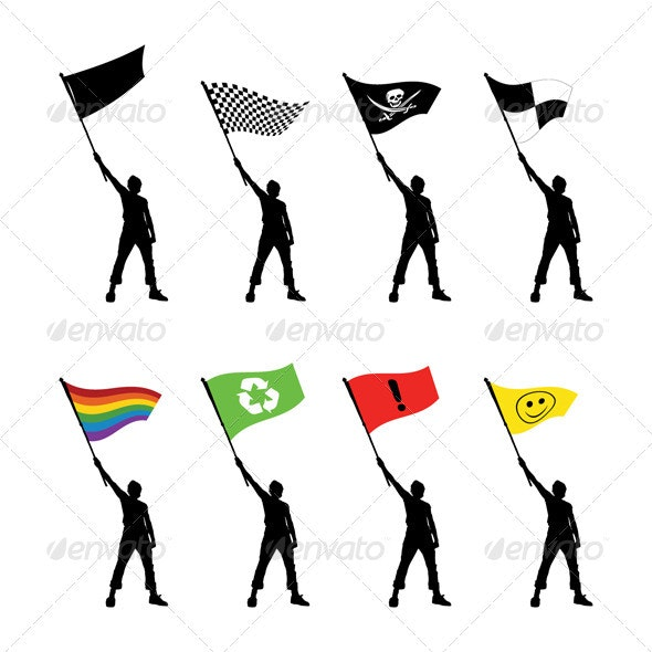 8 Vector Silhouettes of a Man Holding a Flag - People Characters